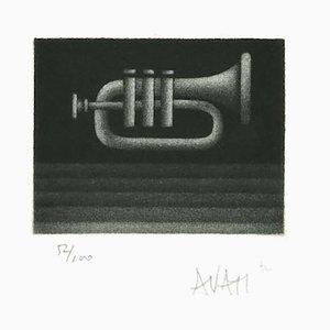 Trompete - Original Radierung auf Papier von Mario Avati - 1970er 1970er Jahre
