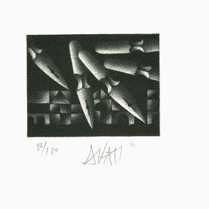 Kugelschreiber - Original Radierung auf Papier von Mario Avati - 1970er 1970er Jahre