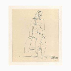 Nude - Original Stift auf elfenbeinfarbenem Papier von M. Grosman - 1950 1950