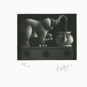 Elephant - Original Etching on Paper by Mario Avati - 1970s 1970s