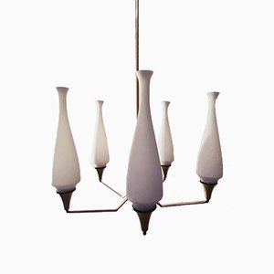 Lustre Vintage à 5 Lampes par Oscar Torlasco