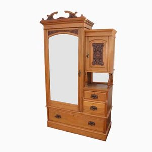 Antique Satin Walnut Mirrored Combination Wardrobe, 1910s