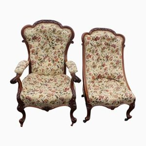Rosewood Mummy and Daddy Chairs in Floral Upholstery, 1859, Set of 2