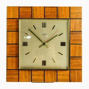 Square Teak Quartz Clock from Diehl, 1960s