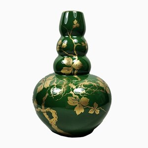 Art Deco Green Enameled Terracotta Vase with Pure Gold Decorations from Sainte-Radegonde, 1949