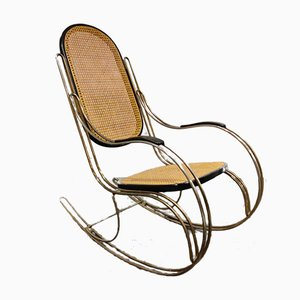 Mid-Century Chrome and Rattan Rocking Chair, 1960s