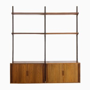 Rosewood FM Wall Unit with 2 Cabinets & Tambour Doors by Kai Kristiansen for Feldballes Møbelfabrik, 1960s