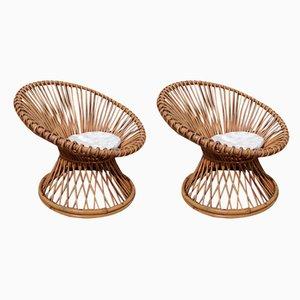 Italian Bamboo & Wicker Chairs, 1960s, Set of 2
