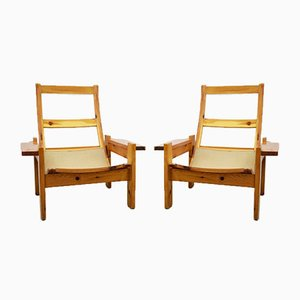 Italian Wooden Lounge Chairs, 1970s, Set of 2