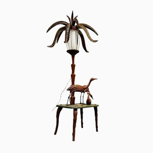 Vintage Wooden Palm Floor Lamp, 1950s