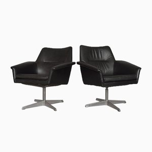 Mid-Century Scandinavian Modern Black Leather Swivel Chairs from Ire Mobler AB, 1960s, Set of 2