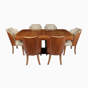 Art Deco Dining Table and Chairs by Harry and Lou Epstein, 1930s, Set of 7