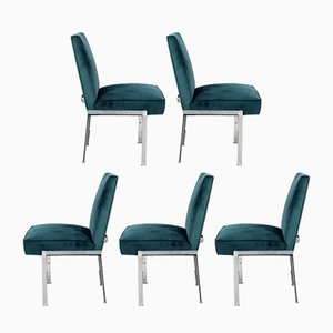 Mid-Century Modern Chrome and Velvet Chairs, Set of 5