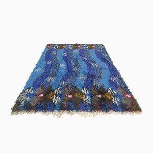 Vintage Blauer Rya Teppich in Wellen Optik, 1970er
