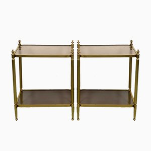 Brass Side Tables with Smoked Glass Shelves, 1970s, Set of 2