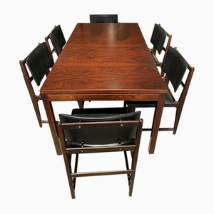 Vintage Rosewood Dining Table & Chairs Set, Set of 7