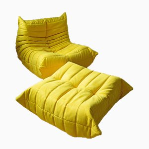 Vintage Yellow Microfiber Togo Lounge Chair and Ottoman Set by Michel Ducaroy for Ligne Roset, 1970s