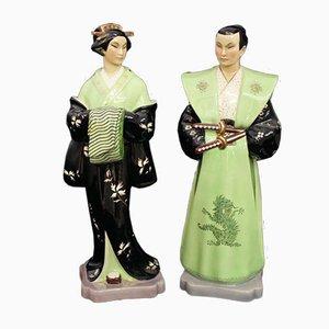 Keramikfiguren von BiGi Torino, 1940er, 2er Set