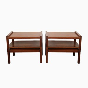 Vintage Brown Teak Coffee Tables with Drawers, 1970s, Set of 2