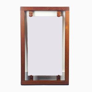 Specchio rettangolare in legno marrone, anni '70