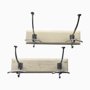 Portaoggetti vintage in acciaio e legno massiccio, set di 2