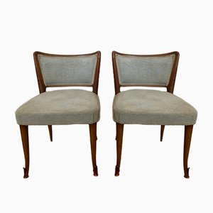 Walnut Side Chairs with Bronze Ferrules, 1950s, Set of 2