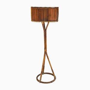 Bamboo & Cane Floor Lamp, 1960s