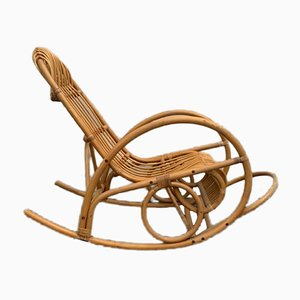 Wicker & Bamboo Rocking Chair, 1970s