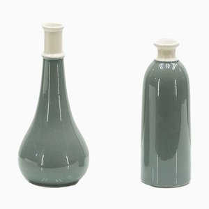 Italian 2-Tone Ceramic Vases, 1960s, Set of 2