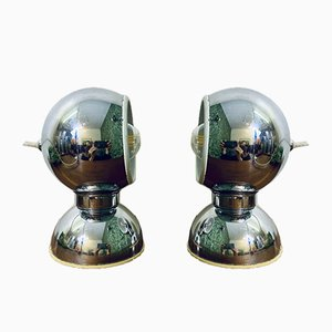 Vintage Italian Chrome-Plated Steel Table Lamps by Goffredo Reggiani for Reggiani, Set of 2