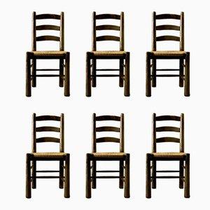 Chaises de Salon Mid-Century en Paille par Georges Robert, Set de 6