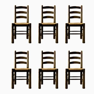 Mid-Century Straw Bottom Dining Chairs by Georges Robert, Set of 6