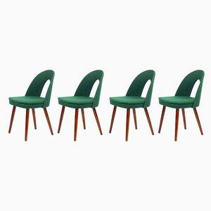 Tatra Esszimmerstühle mit Grüner Bespannung von Antonín Šuman für Mier, 1962, 4er Set