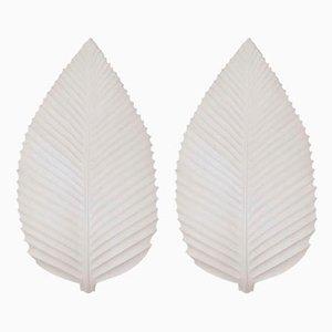 Large Leaf-Shaped Sconces, France, 1970s, Set of 2