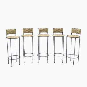 Metal & Rope Stools by Adrien Audoux & Frida Minet, 1950s, Set of 5