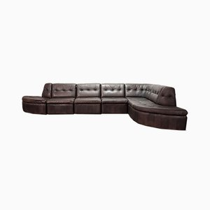 Patched Leather Modular Sectional Sofa Set from Laauser, 1970s, Set of 7
