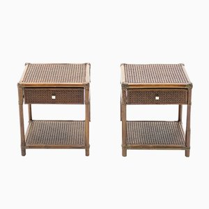 Bamboo, Cane & Brass Nightstands, 1960s, Set of 2