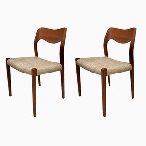 Danish Teak Chairs Model 71 by Niels Otto Møller for JL Møller, 1960s, Set of 2