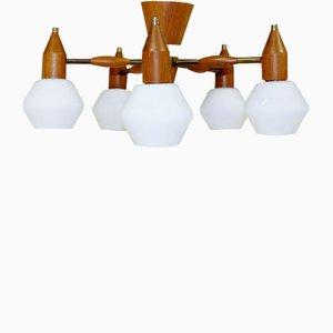 Lampada da soffitto in teak, anni '60