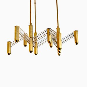 Vintage Italian Brass and Perspex Chandelier from Zeroquattro, 1970s