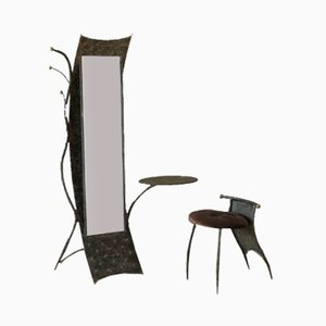 Brutalist Metal Mirror with Side Chair