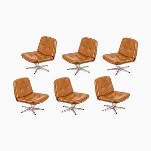 Cognacfarbener Sessel mit Beinen aus Kunstleder & Chrom, 1990er