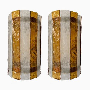 Italian Murano Glass Sconces from Mazzega, 1970s, Set of 2