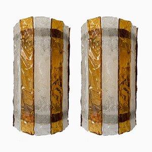 Italienische Murano Glas Wandlampen von Mazzega, 1970er, 2er Set