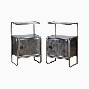 Mid-Century Iron Nightstands, Set of 2