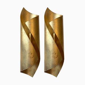 Blattgold Metall Wandleuchten, 1980er, 2er Set