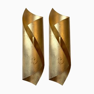 Gold Leaf Metal Sconces, 1980s, Set of 2