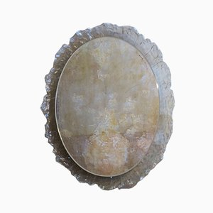 Large Melted Ice Lucite Illuminated Wall Mirror, 1970s