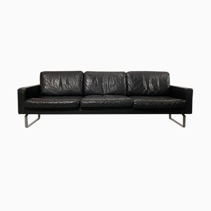 3-Seater Black Leather Sofa on Chromium Steel Base from Asko, 1960s