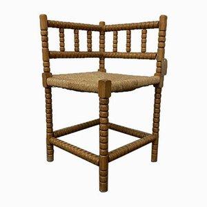 Niederländischer Bobbin-Eckstuhl mit geflochtenem Sitz, 1920er